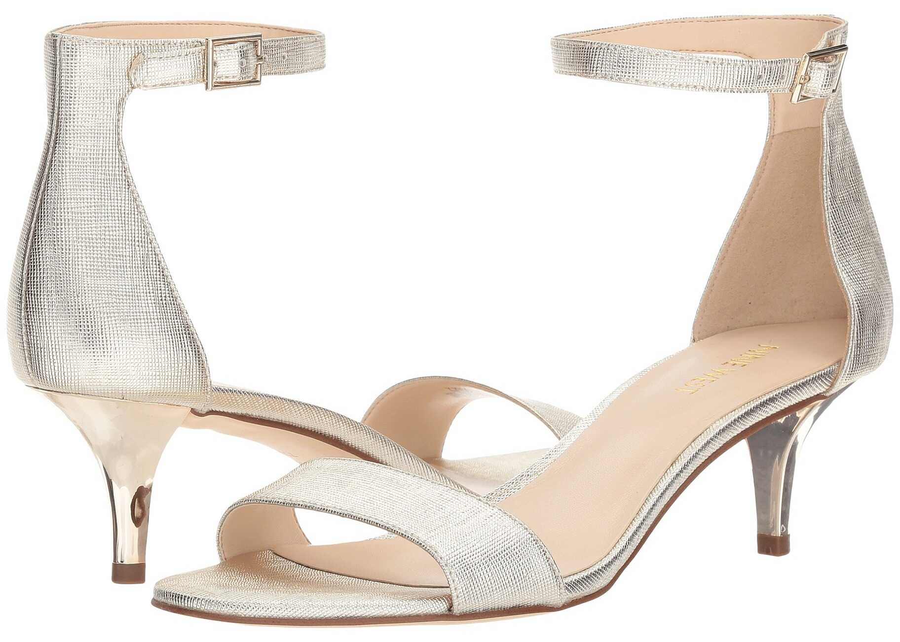 Nine West Leisa Heel Sandal Platino Etched Metallic PU