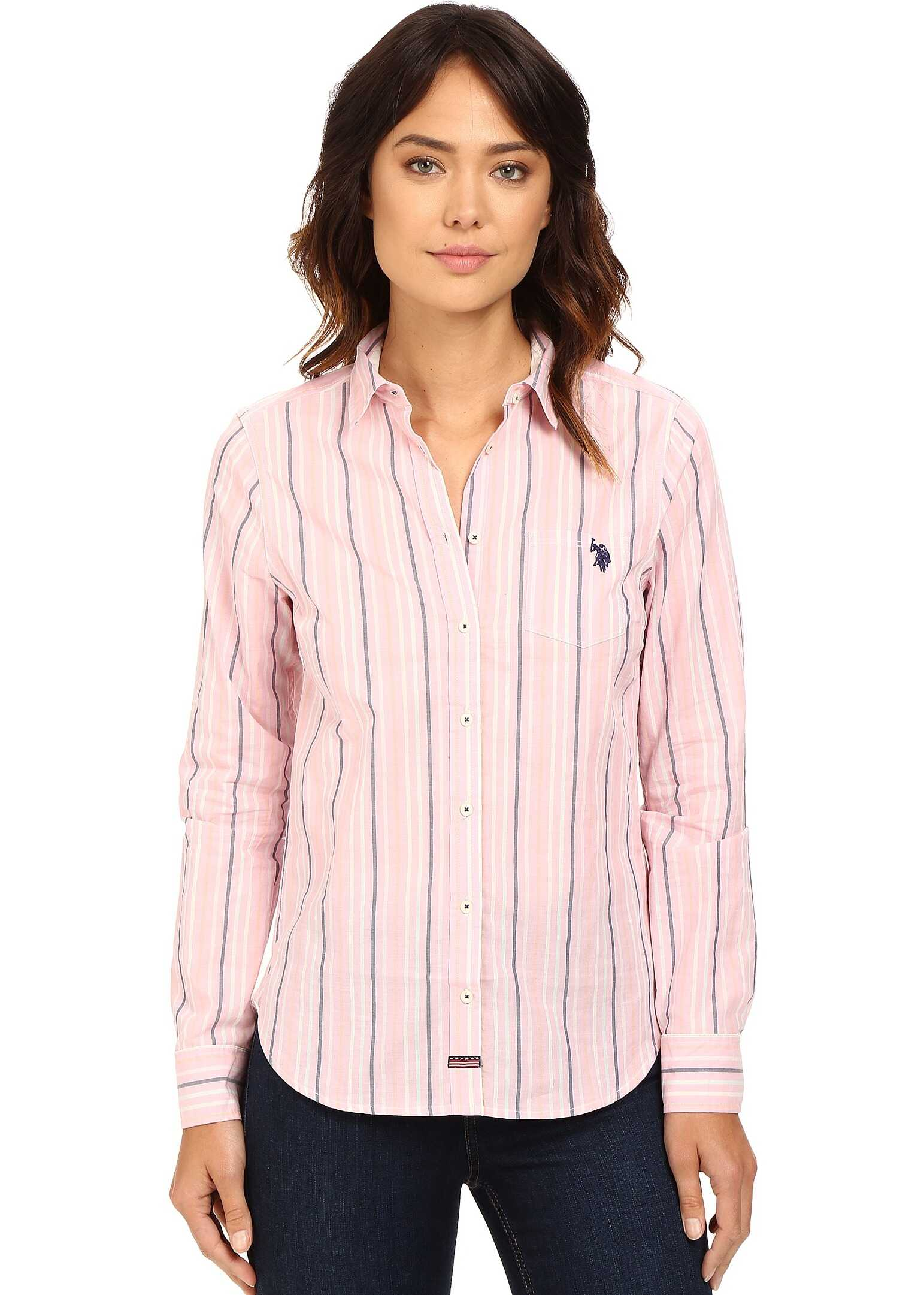 U.S. POLO ASSN. Casual Striped Blouse Prism Pink