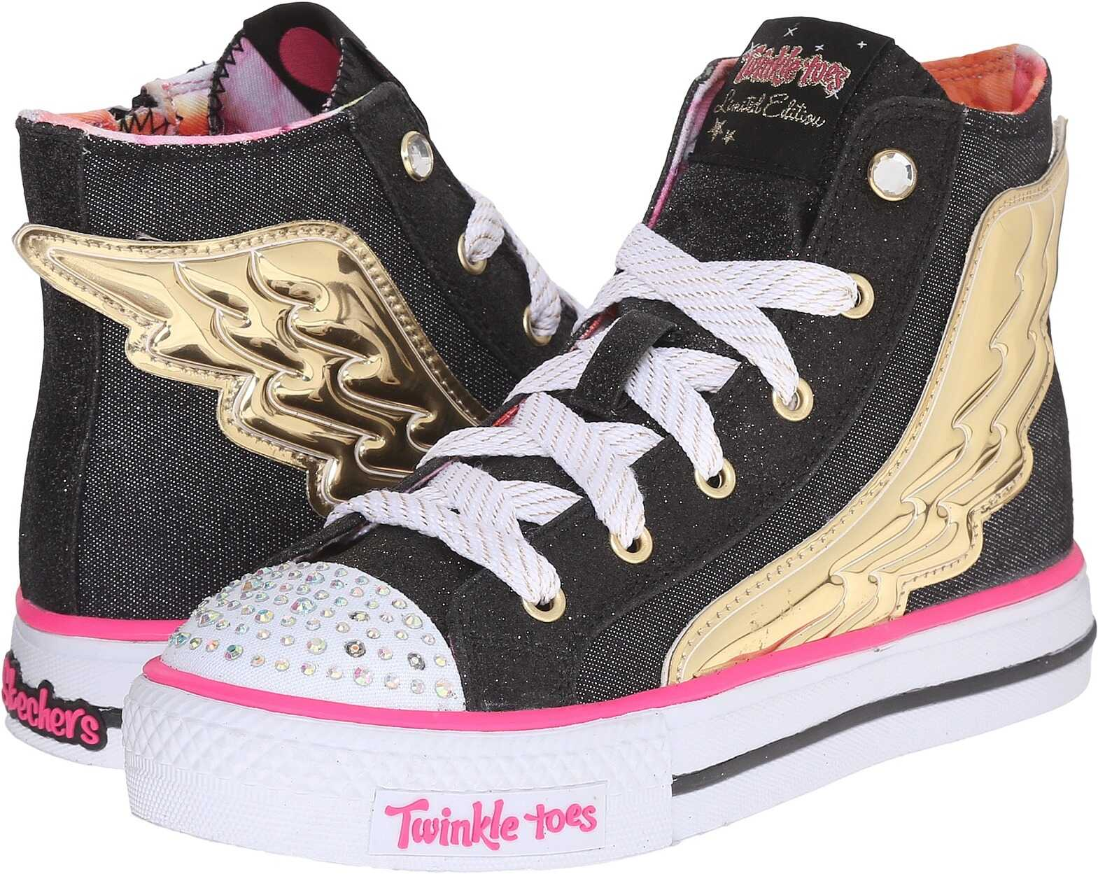 SKECHERS KIDS Twinkle Toes - Flutter Up 10565L (Little Kid/Big Kid) Black/Gold