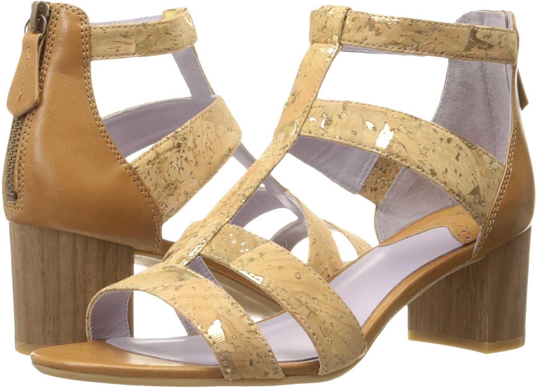 Johnston & Murphy Kallie Back Zip Sandal Natural Metallic Cork