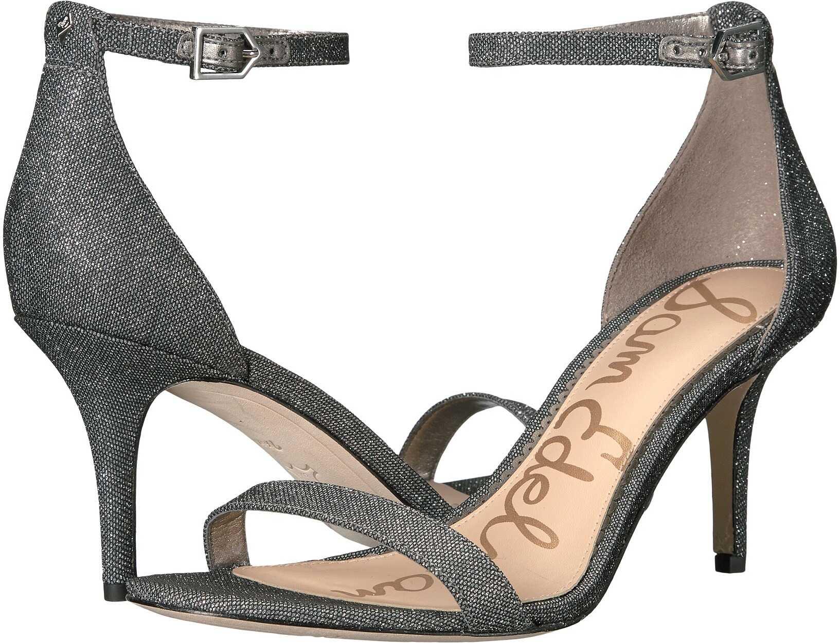 Sam Edelman Patti Strappy Sandal Heel Pewter Glitzy Mesh Fabric