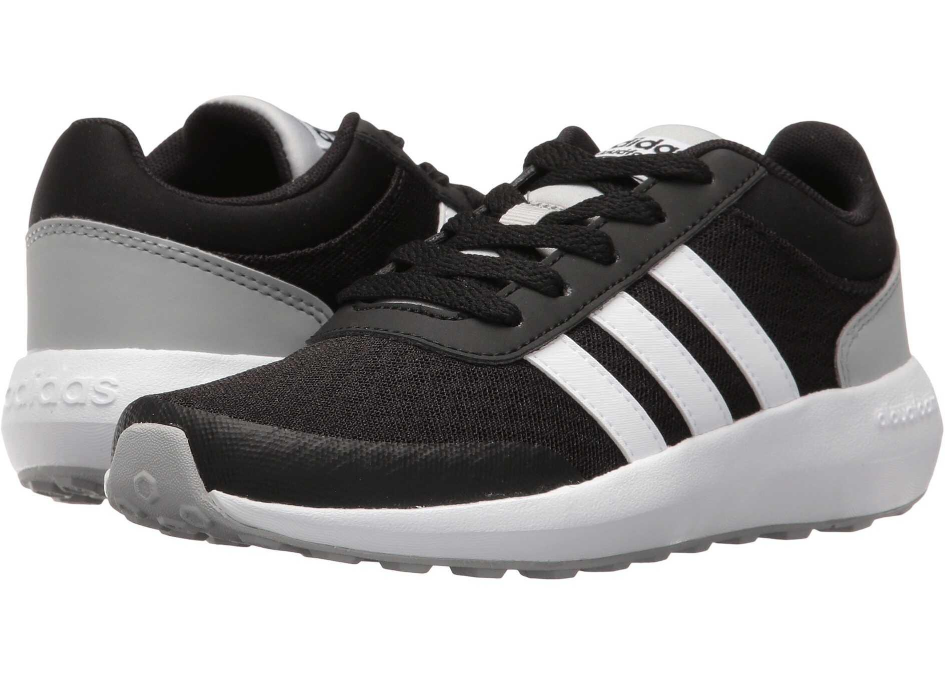 adidas Kids Cloudfoam Race (Little Kid/Big Kid) Black/White/Clear Onix 2