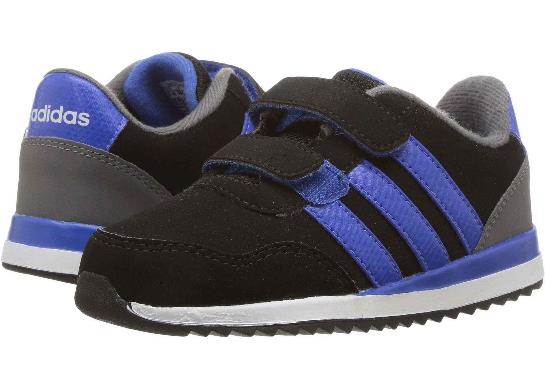 adidas Kids V Jog CMF (Infant/Toddler) Core Black/Blue/Grey Four