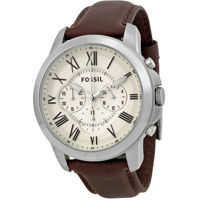 Ceasuri Fashion Grant Chronograph Egg Shell Dial Brown Leather Mens Watch FS4735 Barbati