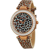 Ceasuri Fashion Sertie Brown Leopard Dial Brown Leopard-pattern Leather Femei