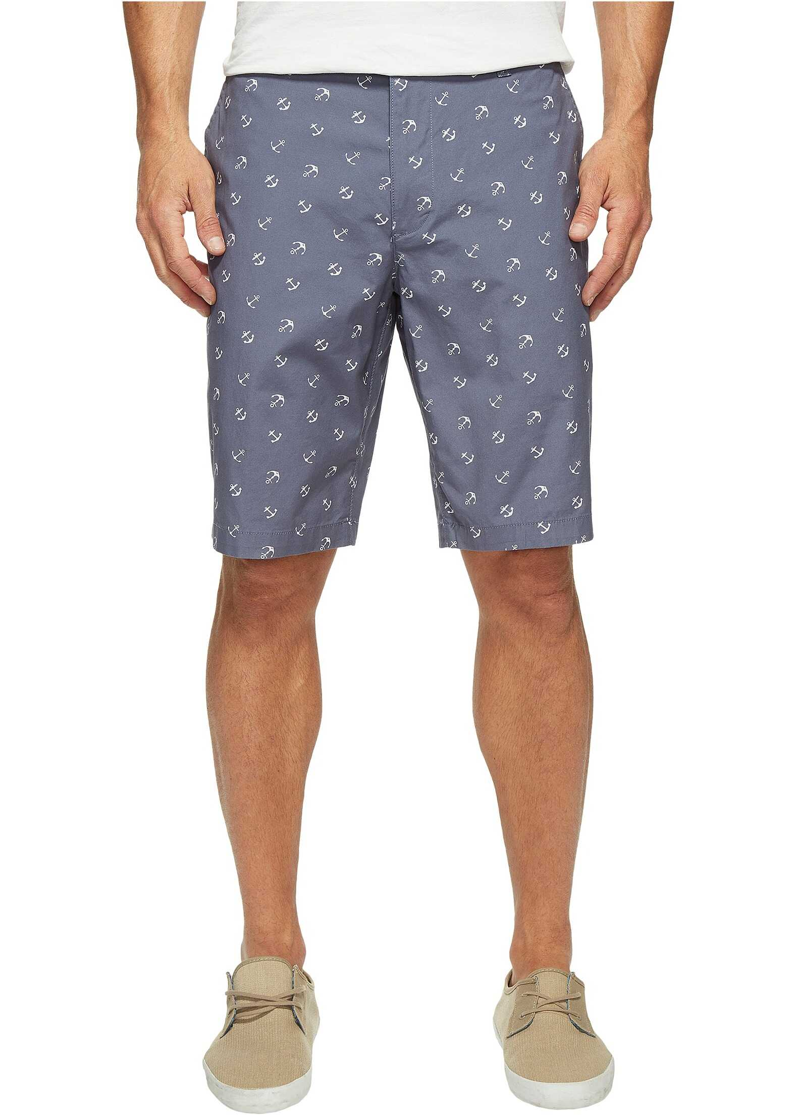 Dockers Perfect Short Classic Fit Flat Front Anchor Print Vintage Indigo Stretch