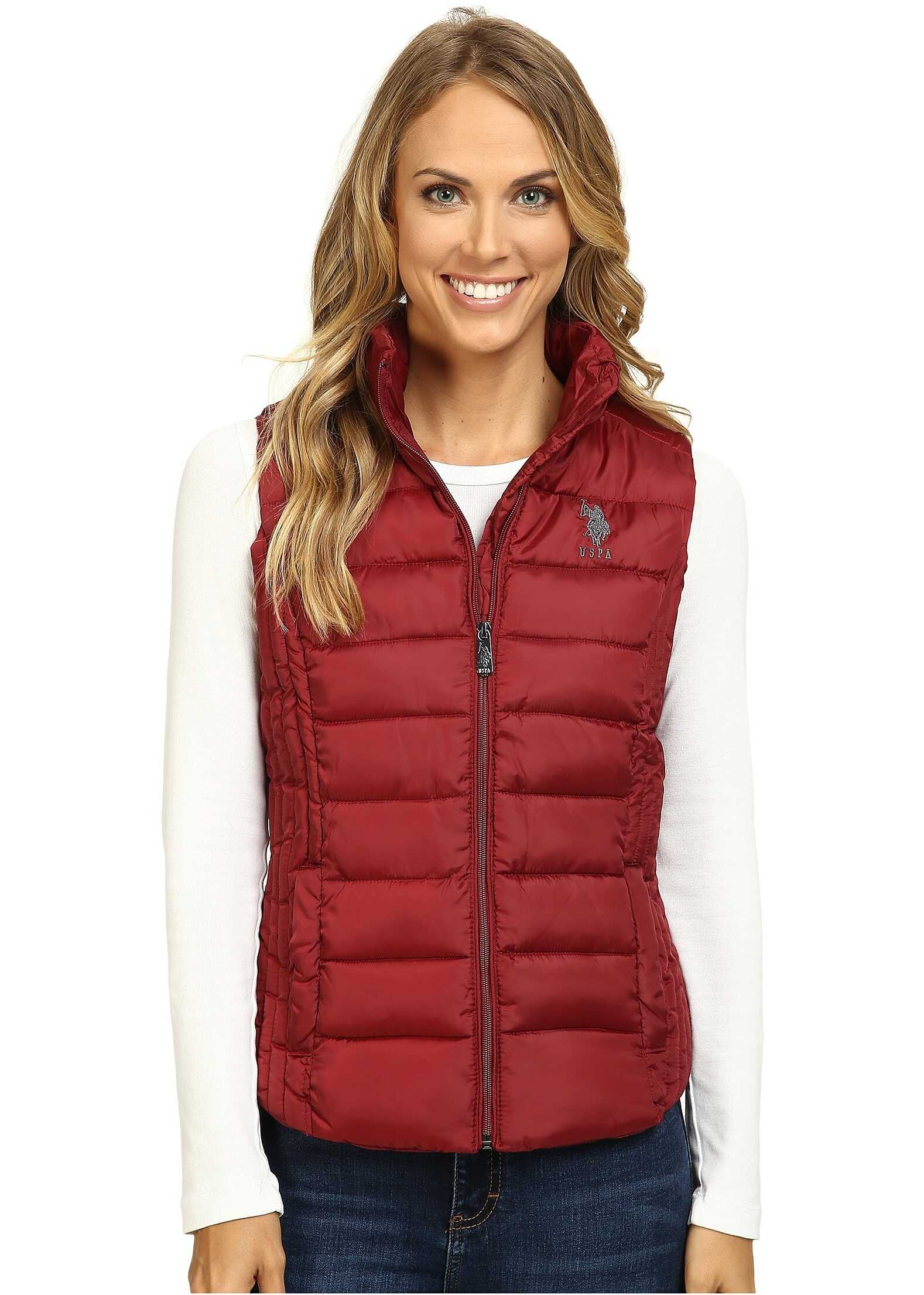 U.S. POLO ASSN. Quilted Vest Rumba Red