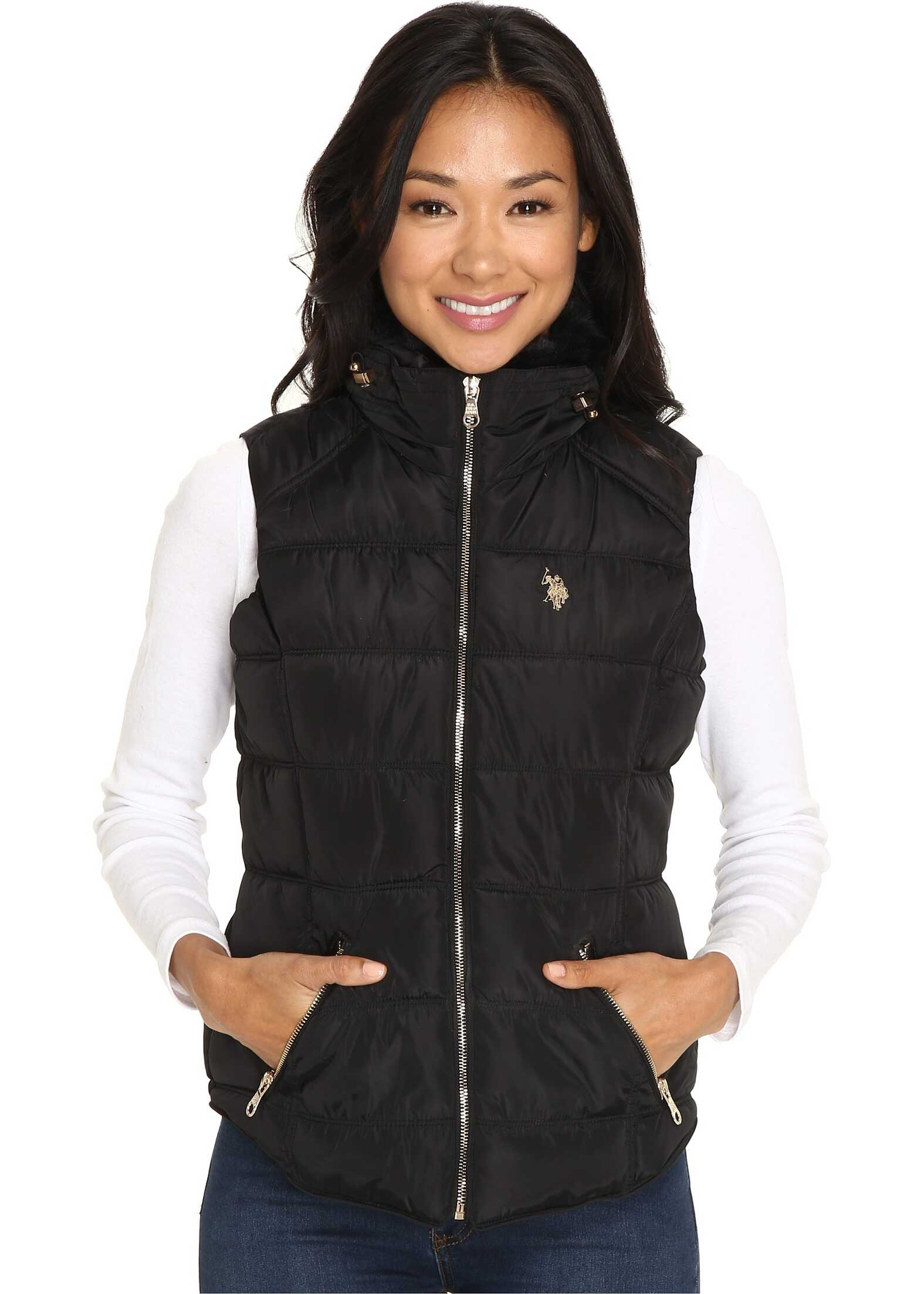 U.S. POLO ASSN. Quilted Vest with Shirttail Hem Black