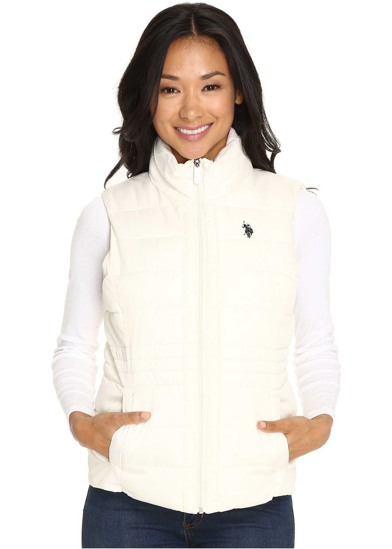 U.S. POLO ASSN. Quilted Vest with Sherpa Lining Oat