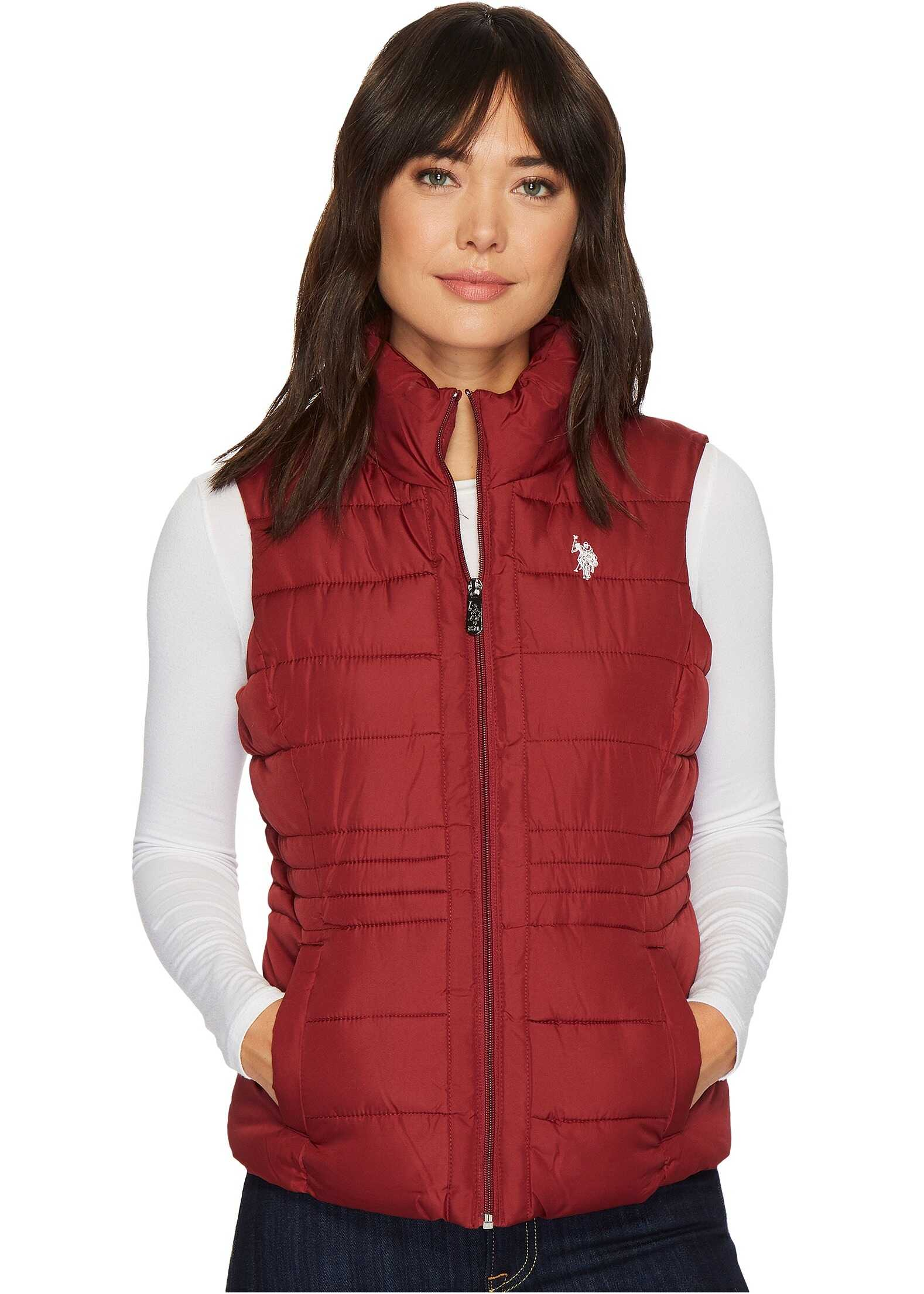 U.S. POLO ASSN. Quilted Vest with Sherpa Lining Rumba Red