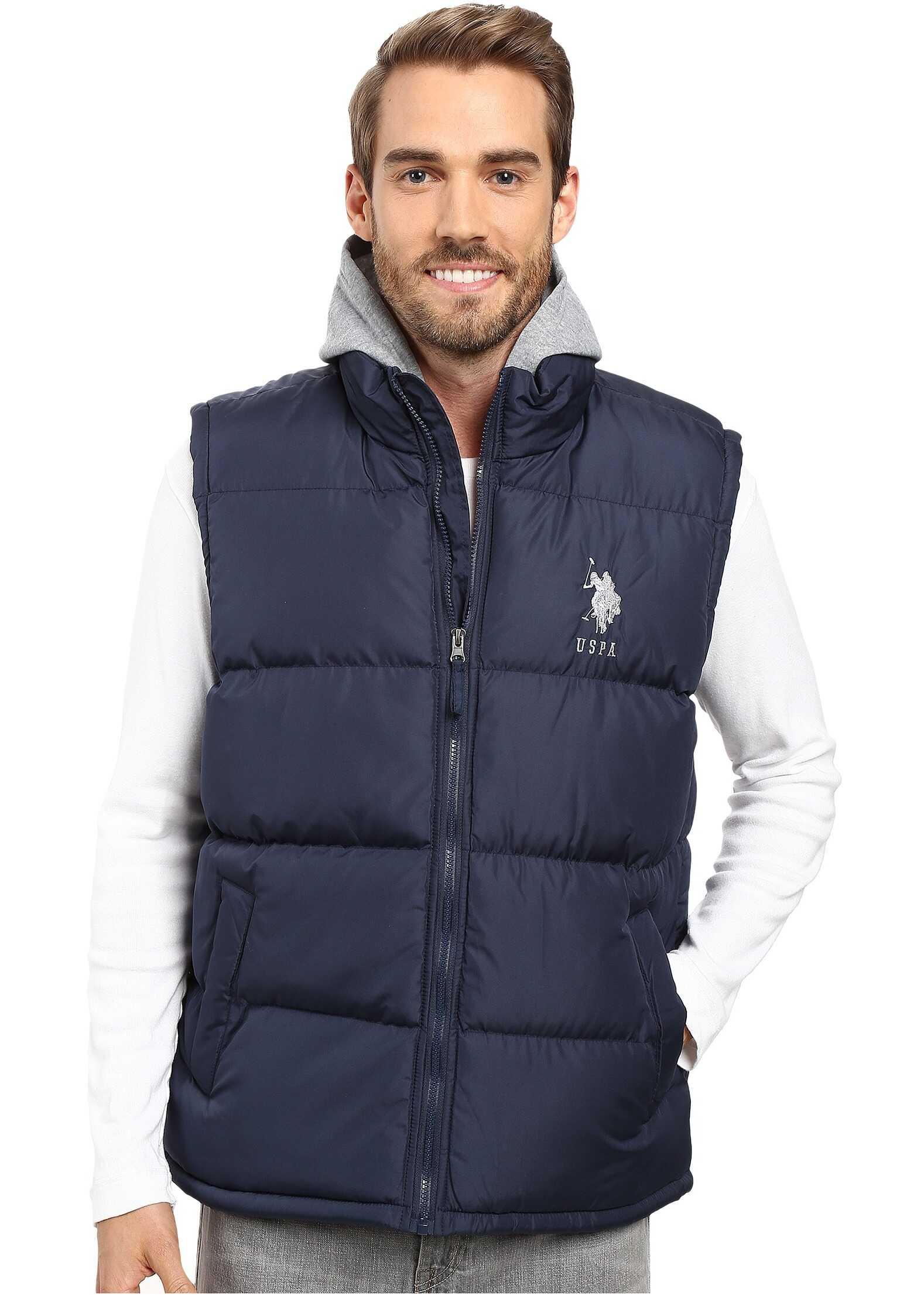U.S. POLO ASSN. Basic Puffer Vest with Fleece Hood Classic Navy