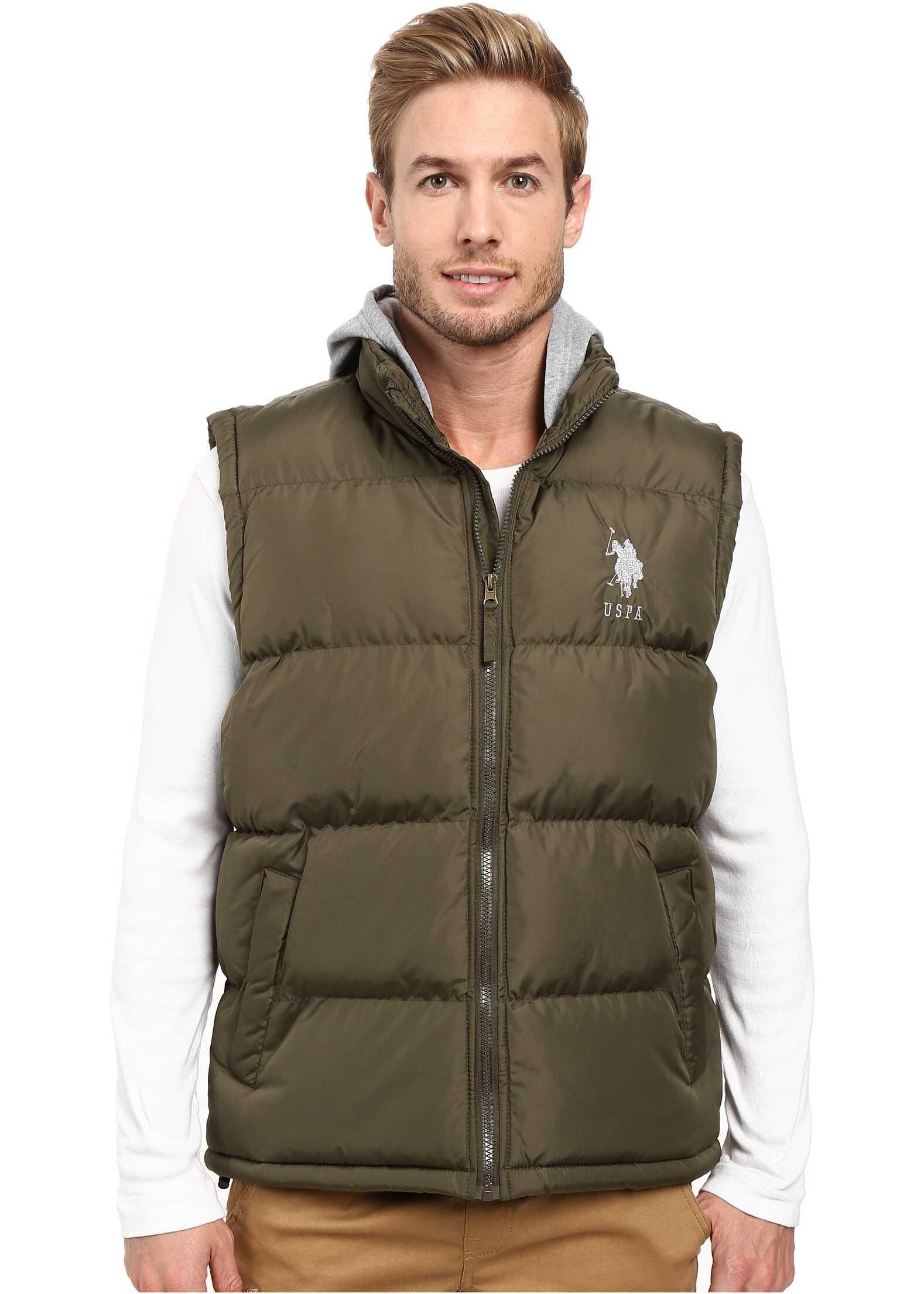 U.S. POLO ASSN. Basic Puffer Vest with Fleece Hood Forest Night