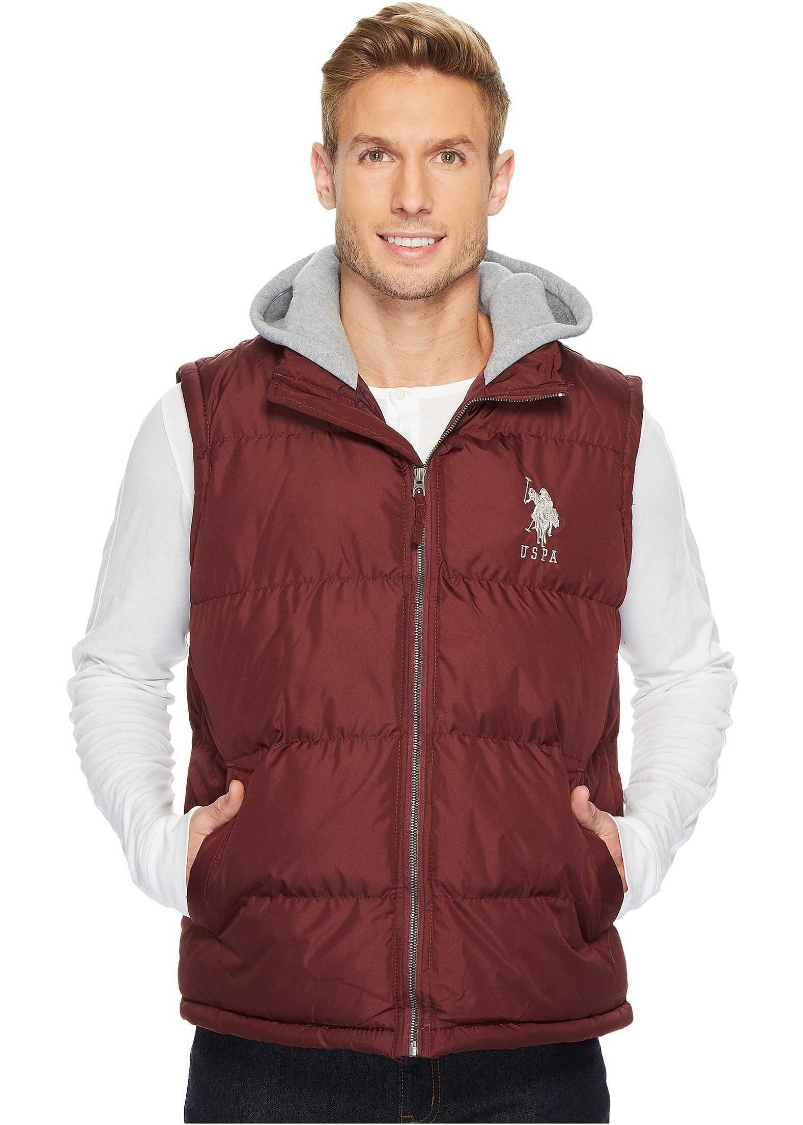 U.S. POLO ASSN. Basic Puffer Vest with Fleece Hood East Burgundy