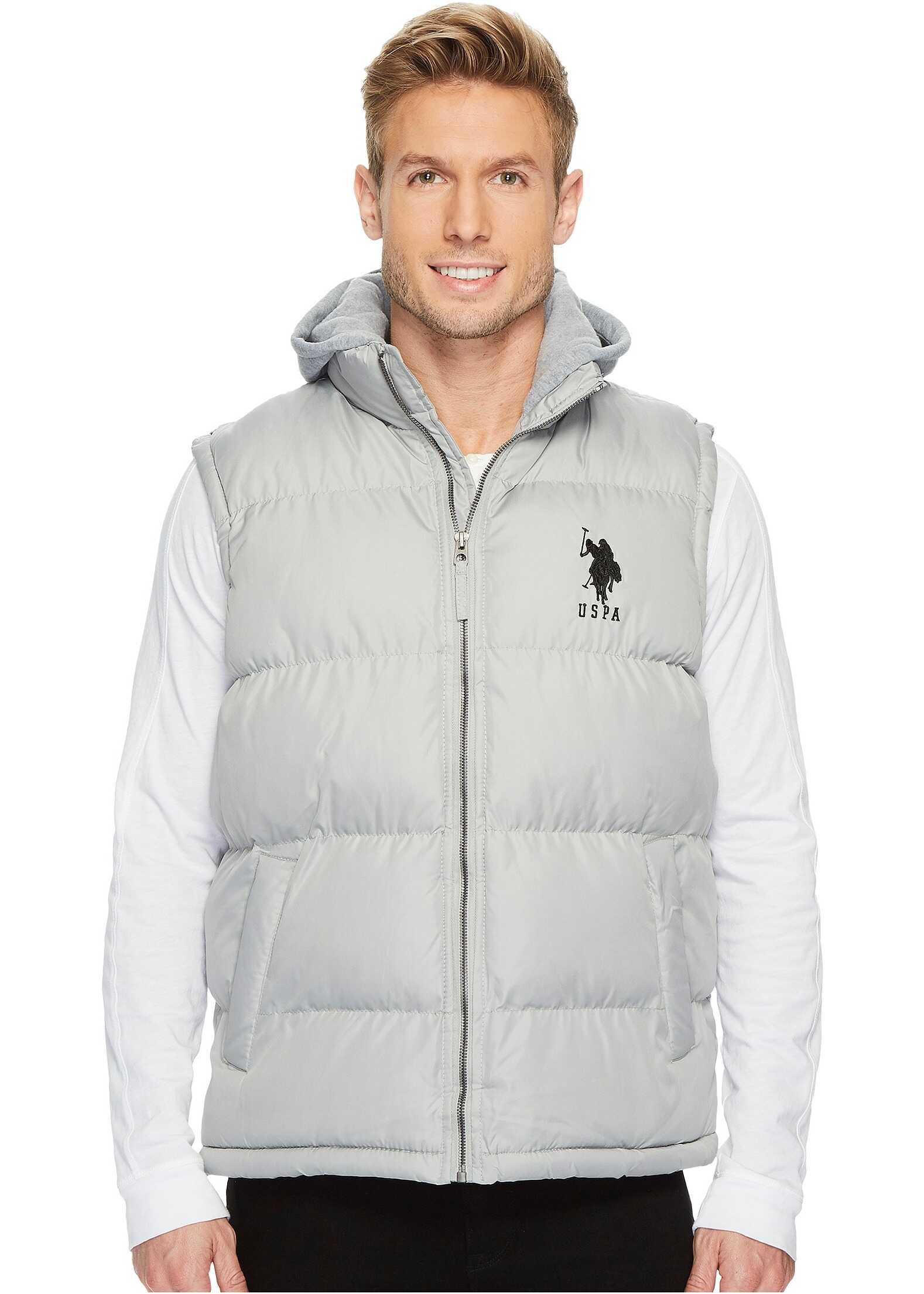 U.S. POLO ASSN. Basic Puffer Vest with Fleece Hood Lime Stone