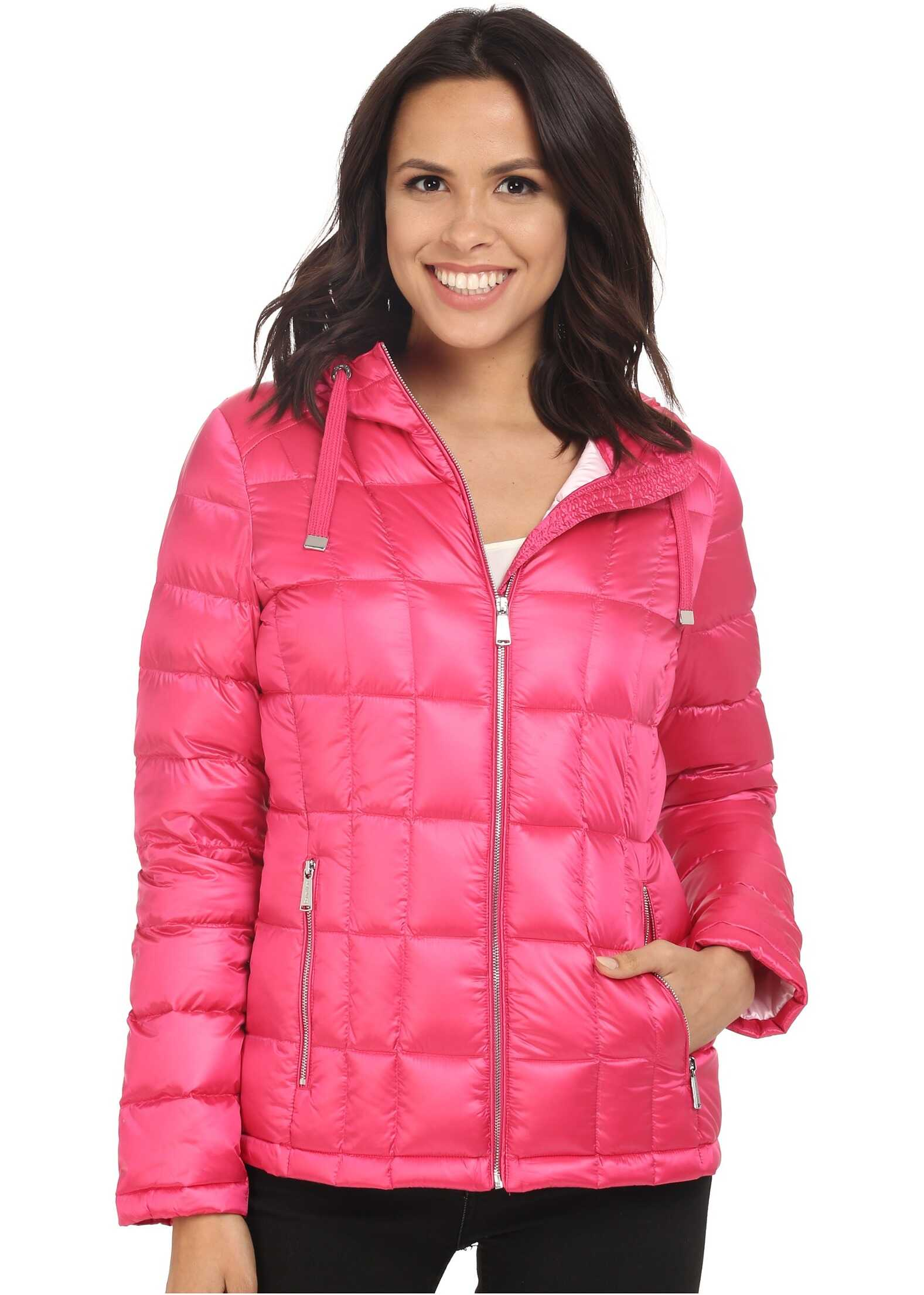 Calvin Klein Short Hooded Lightweight Packable Down Pearlized Hibiscus