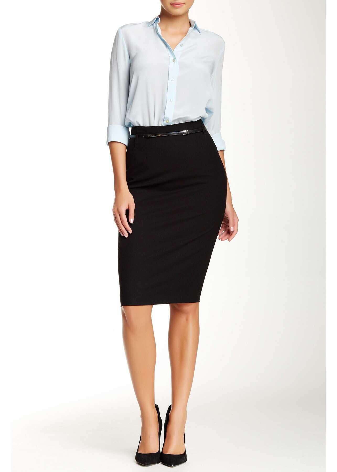 Amanda & Chelsea Signature Belted Pencil Skirt* BLACK