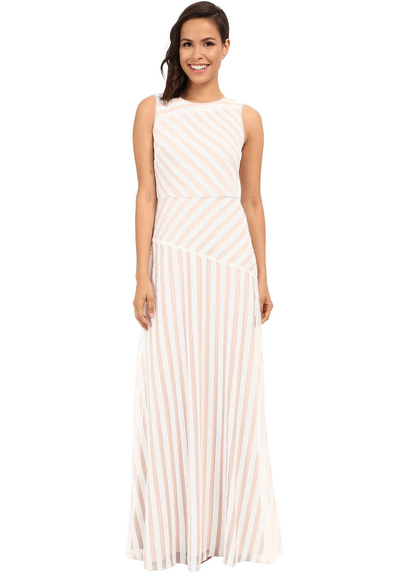Donna Morgan Gigi Boat Neck Striped Sequin Gown Ivory/Nude