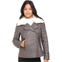 Geci de Piele Asymmetrical Croc Like Quilted Bomber with Removable Luxe Faux F Femei