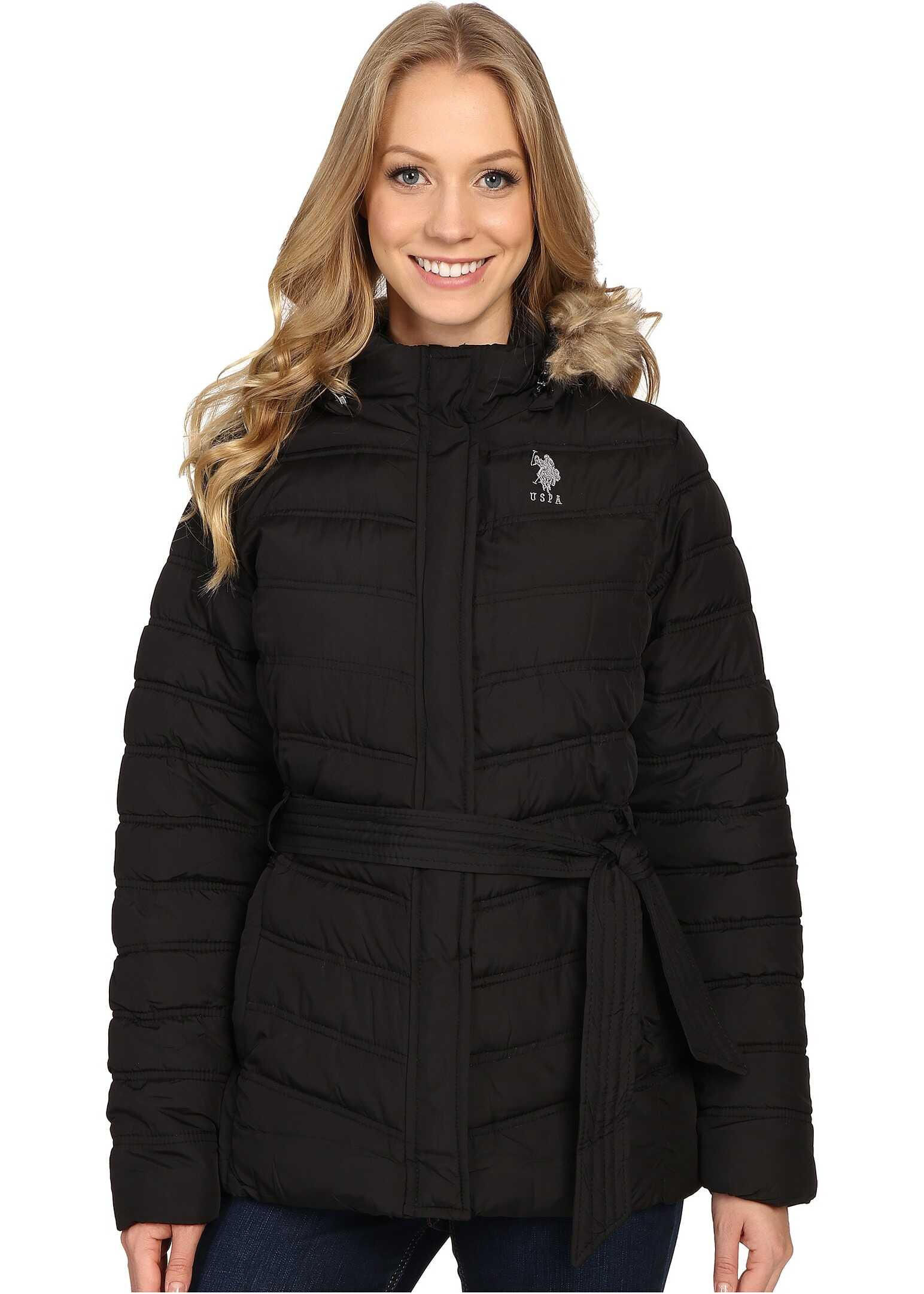 U.S. POLO ASSN. Belted Puffer Jacket with Faux Fur Hood Trim Black