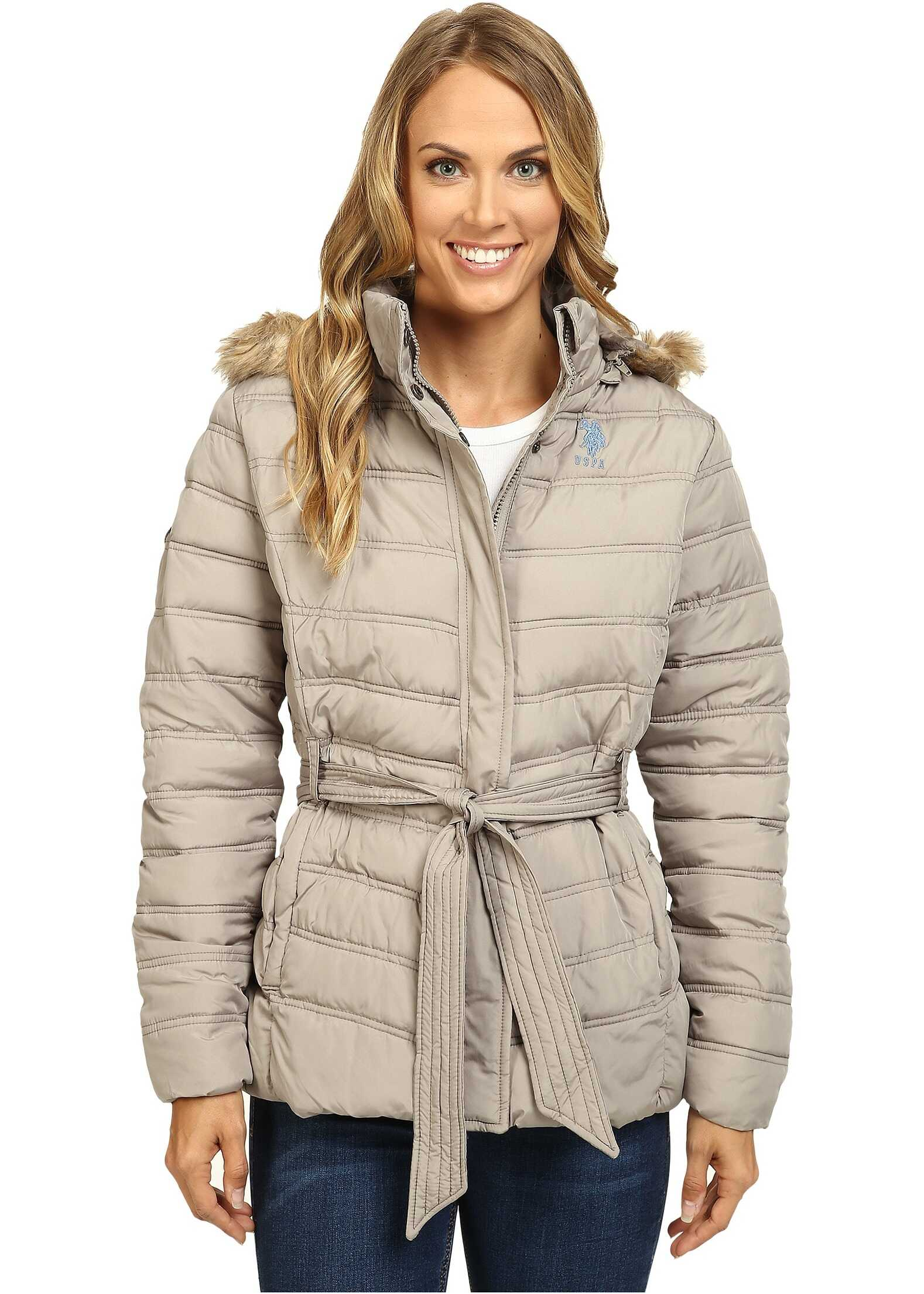 U.S. POLO ASSN. Belted Puffer Jacket with Faux Fur Hood Trim Moonrock