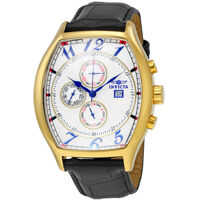 Ceasuri Fashion Specialty Multi-Function White Dial Black Leather Mens Watch 14330 Barbati