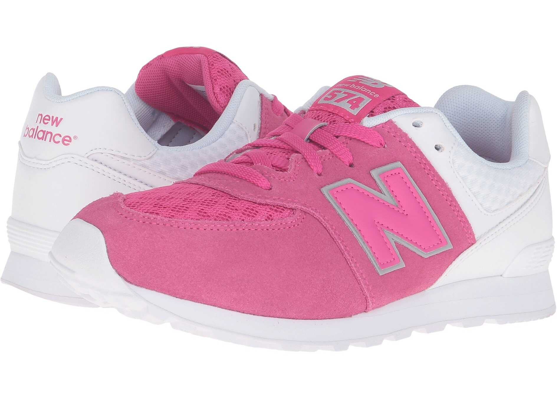 New Balance Kids 574 Breathe (Big Kid) Pink/White