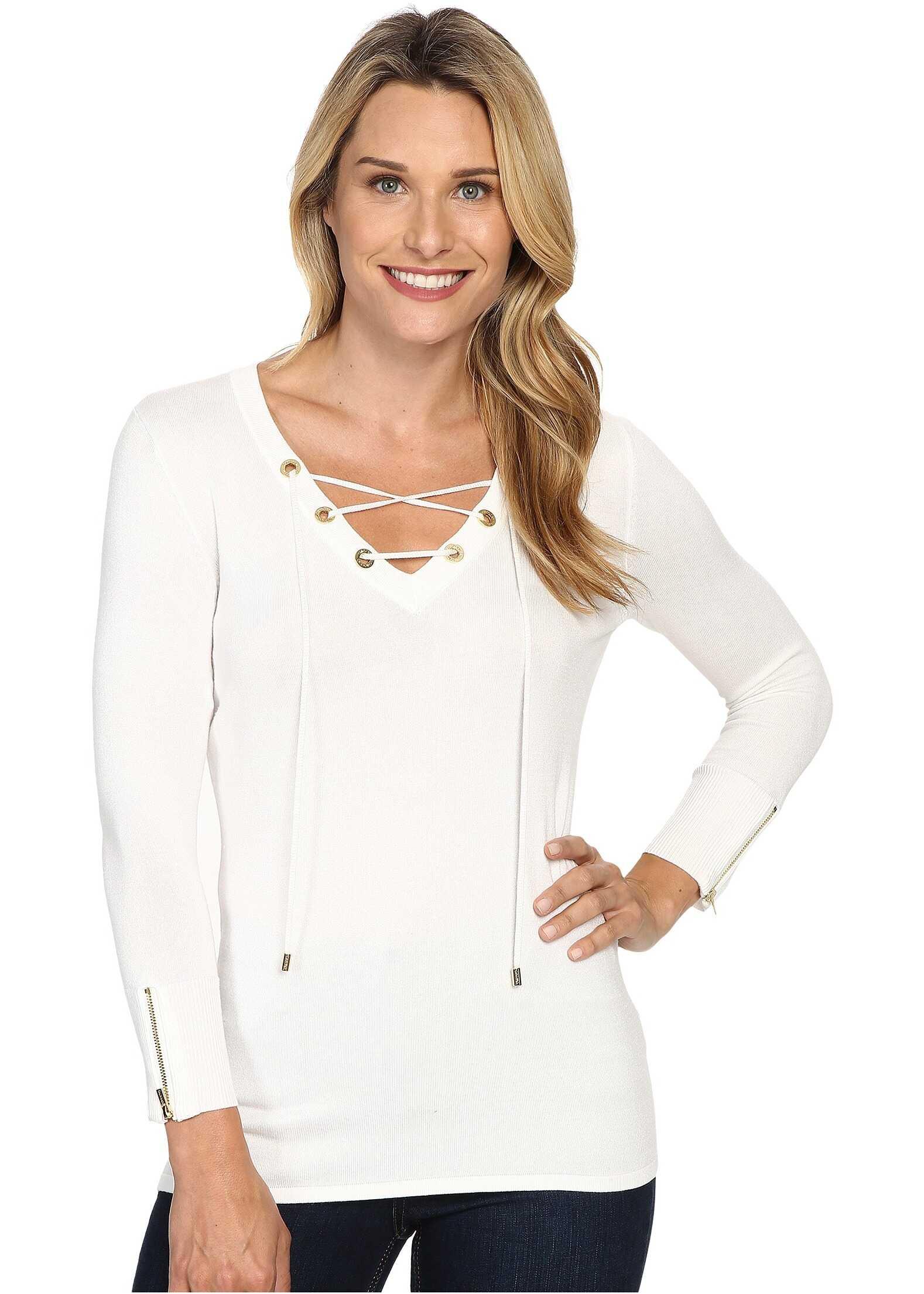 Calvin Klein Fine Gauge Lace-Up Sweater Soft White