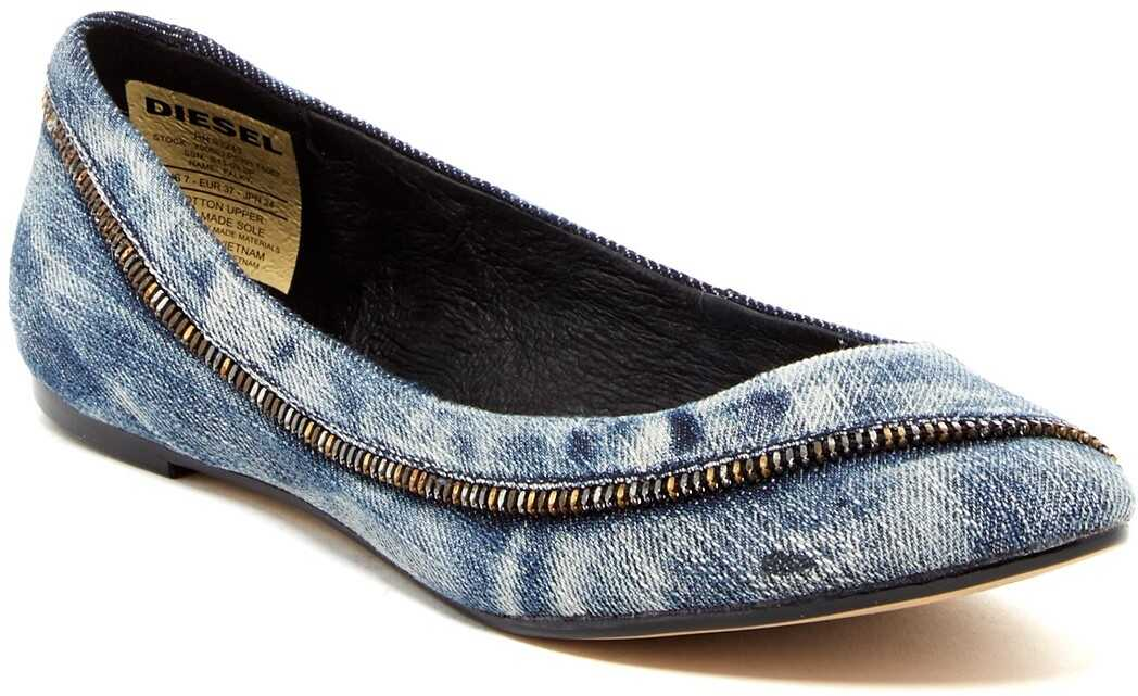Diesel Pointed Toe Girls Flat* INDIGO-BLU