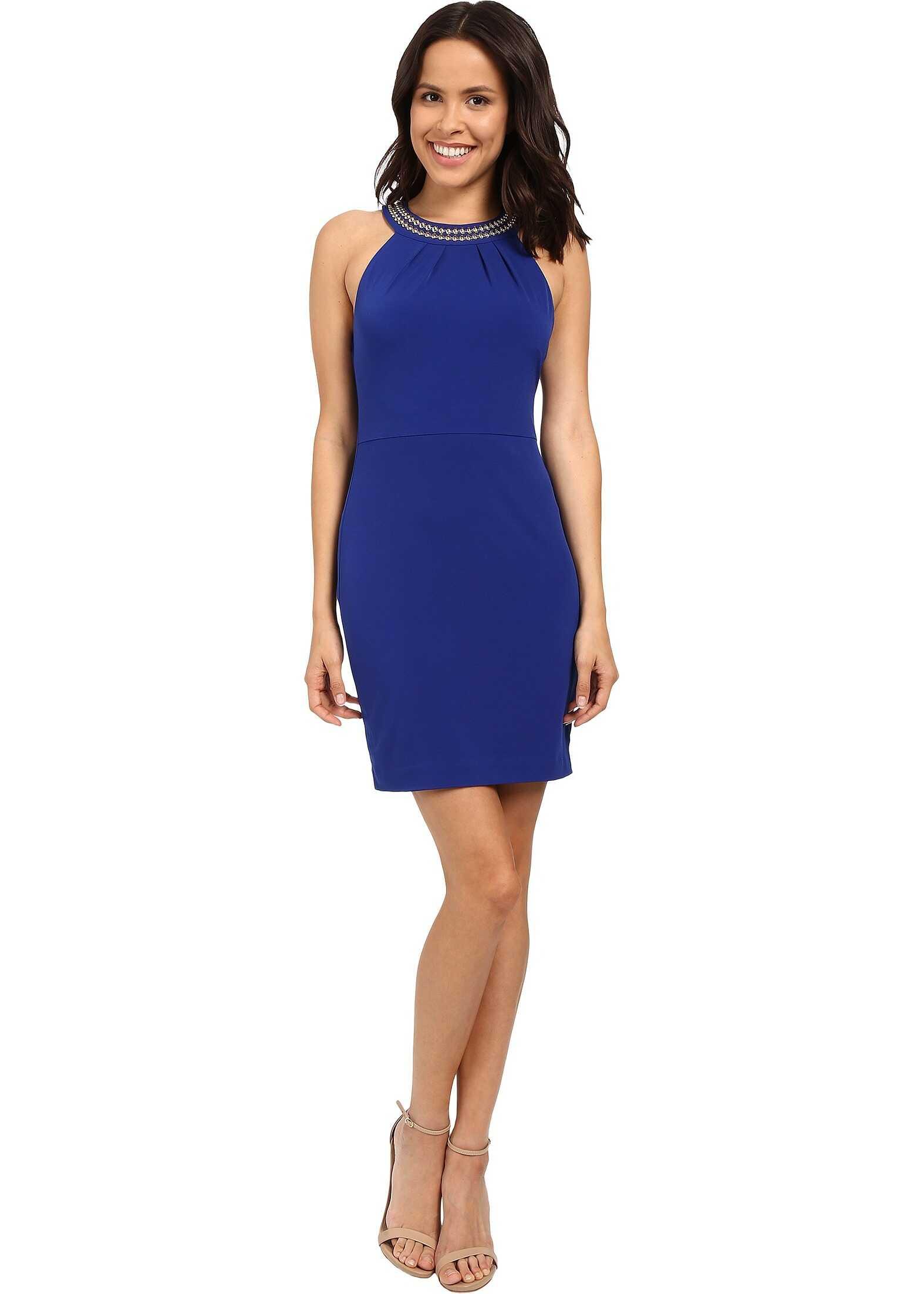 Jessica Simpson Solid Dress with Neck Embellishment JS6D8653 Cobalt
