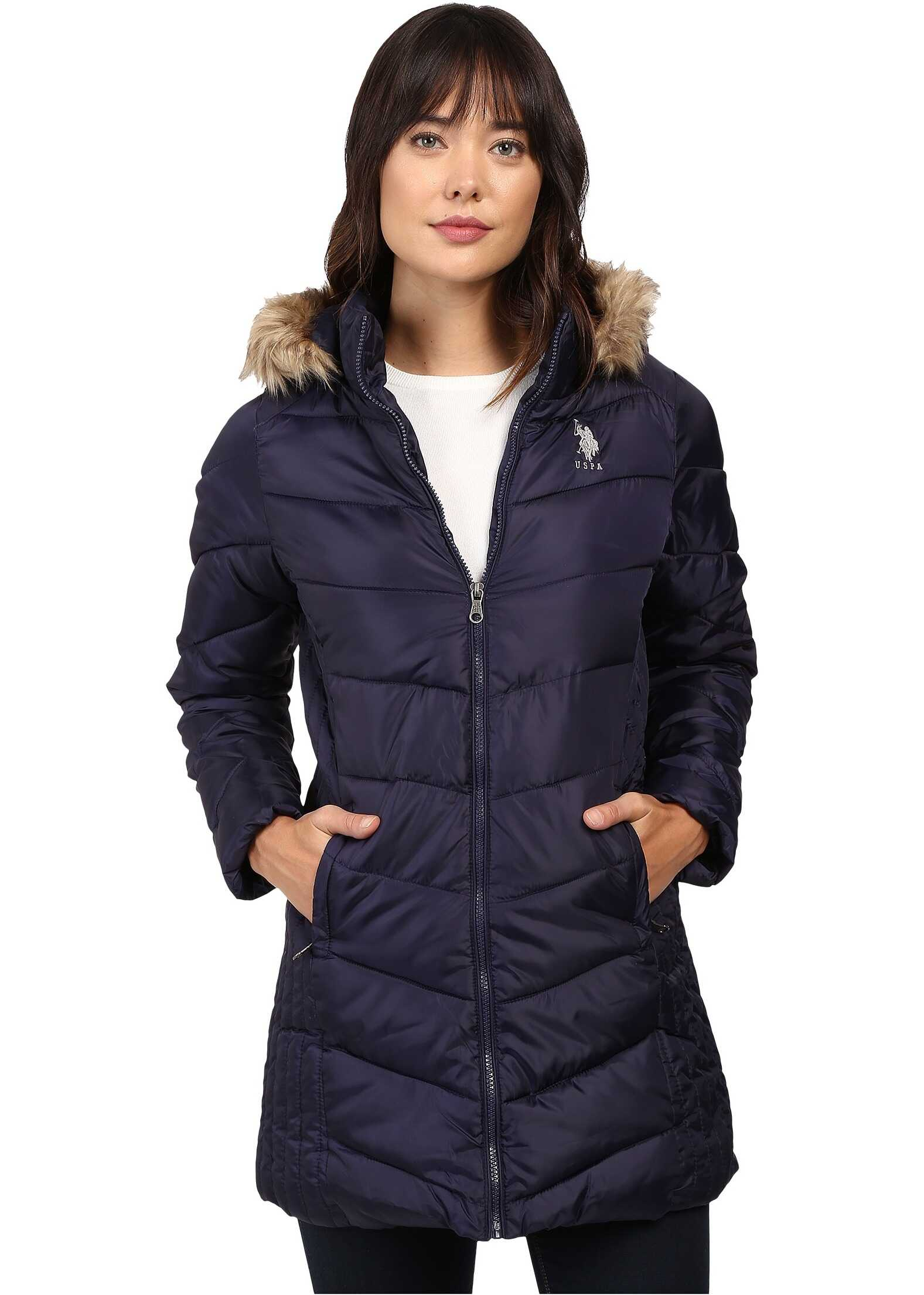 U.S. POLO ASSN. Faux Fur Trimmed Parka Jacket Evening Blue