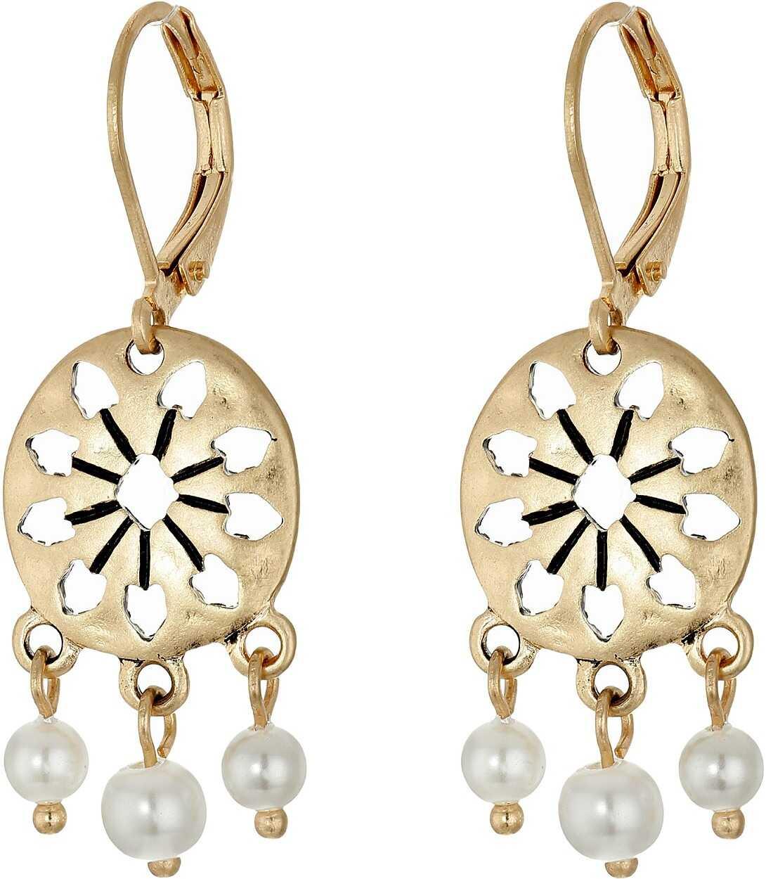 The Sak 3 Bead Disc Drop Earrings White