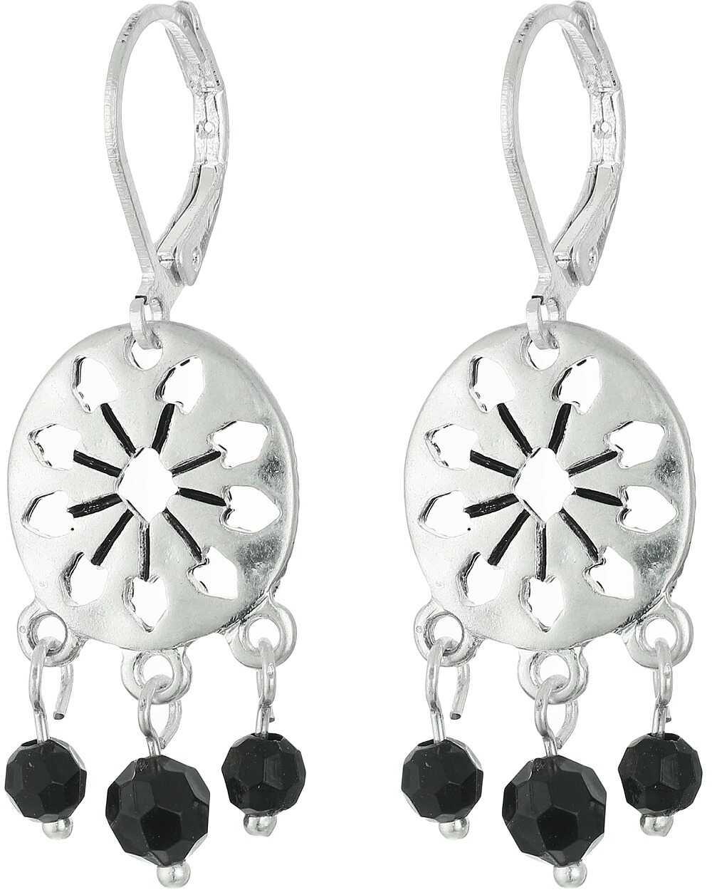 The Sak 3 Bead Disc Drop Earrings Black/silver