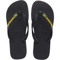 Slapi Brasil Logo Unisex Synthetic Flip Flops Black Barbati