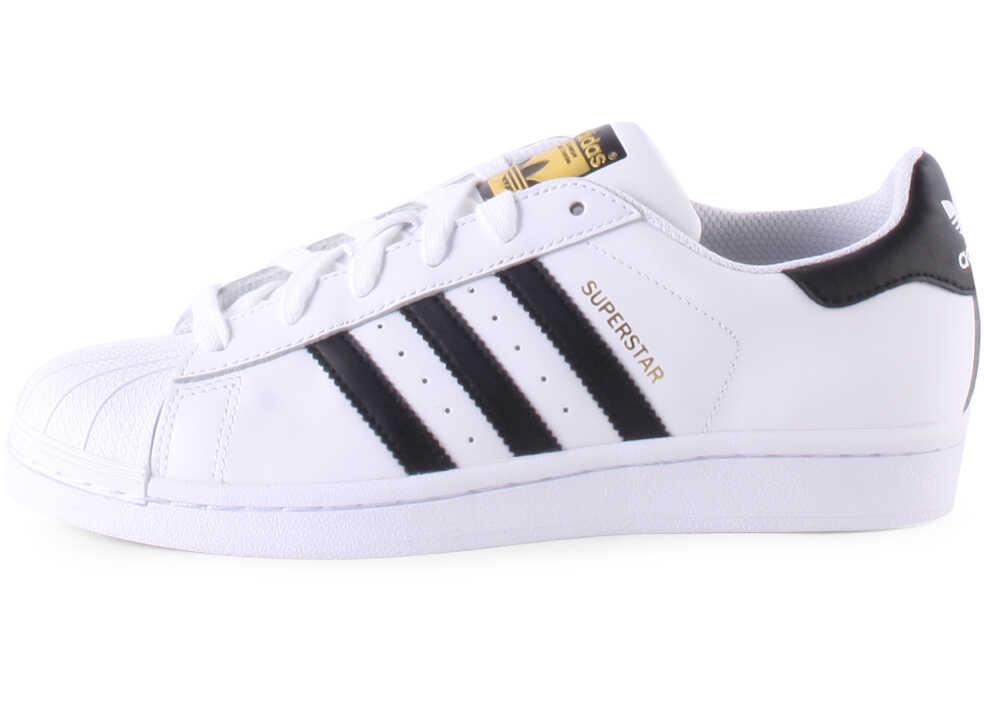 Pantofi sport Fete adidas Superstar J Kids Trainers In White Black