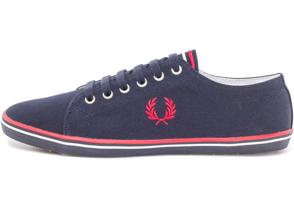 Fred Perry Kingston Twill Unisex Trainers In Navy Red Blue