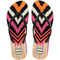 Slapi Slim Tribal Unisex Flip Flops In Black Multicolour Barbati