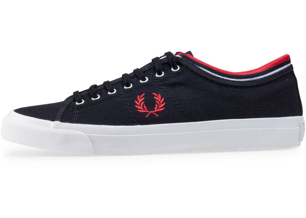 Fred Perry Kendrick Tipped Cuff Trainers In Navy Red Blue