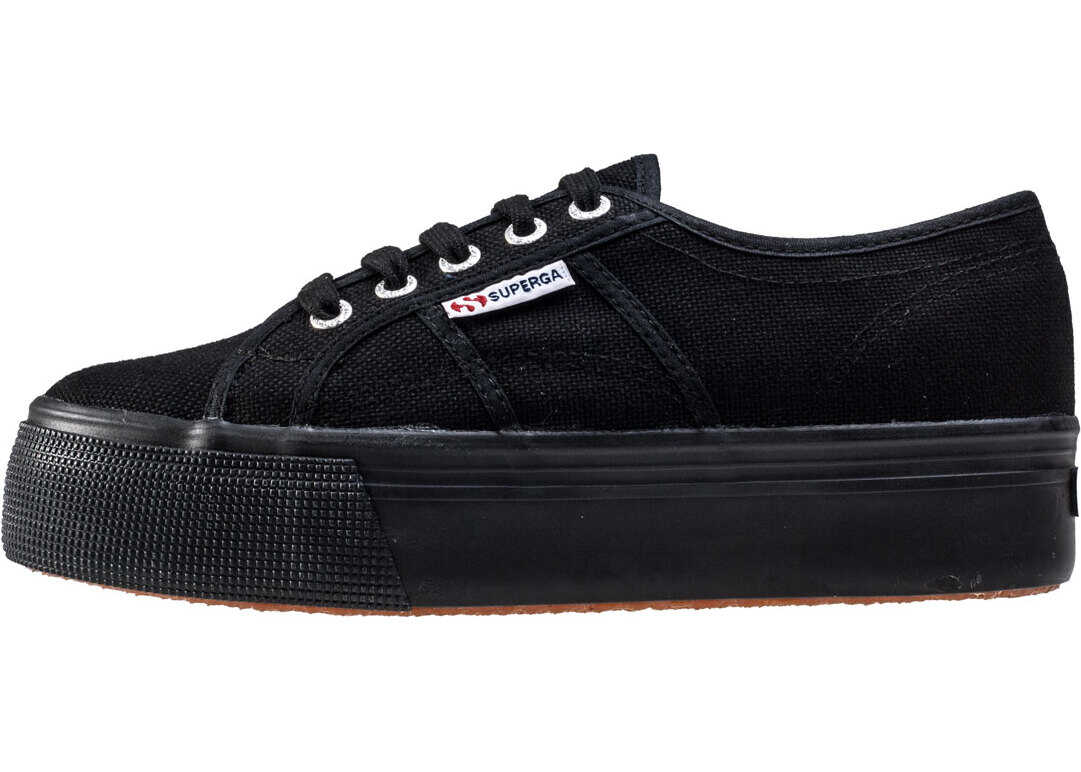 Superga 2790 Linea Up And Down Trainers In Black Black Black