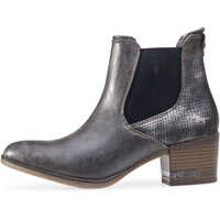Ghete & Cizme Snake Finish Heel Ankle Boots In Dark Grey Femei