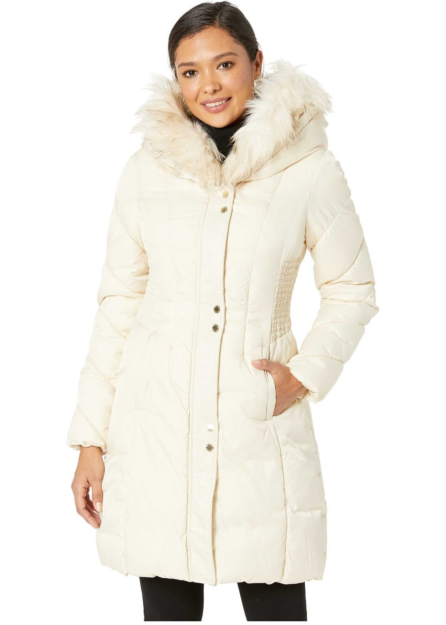 Via Spiga Faux Fur Trimmed Hood Winter Coat Whipped Cream