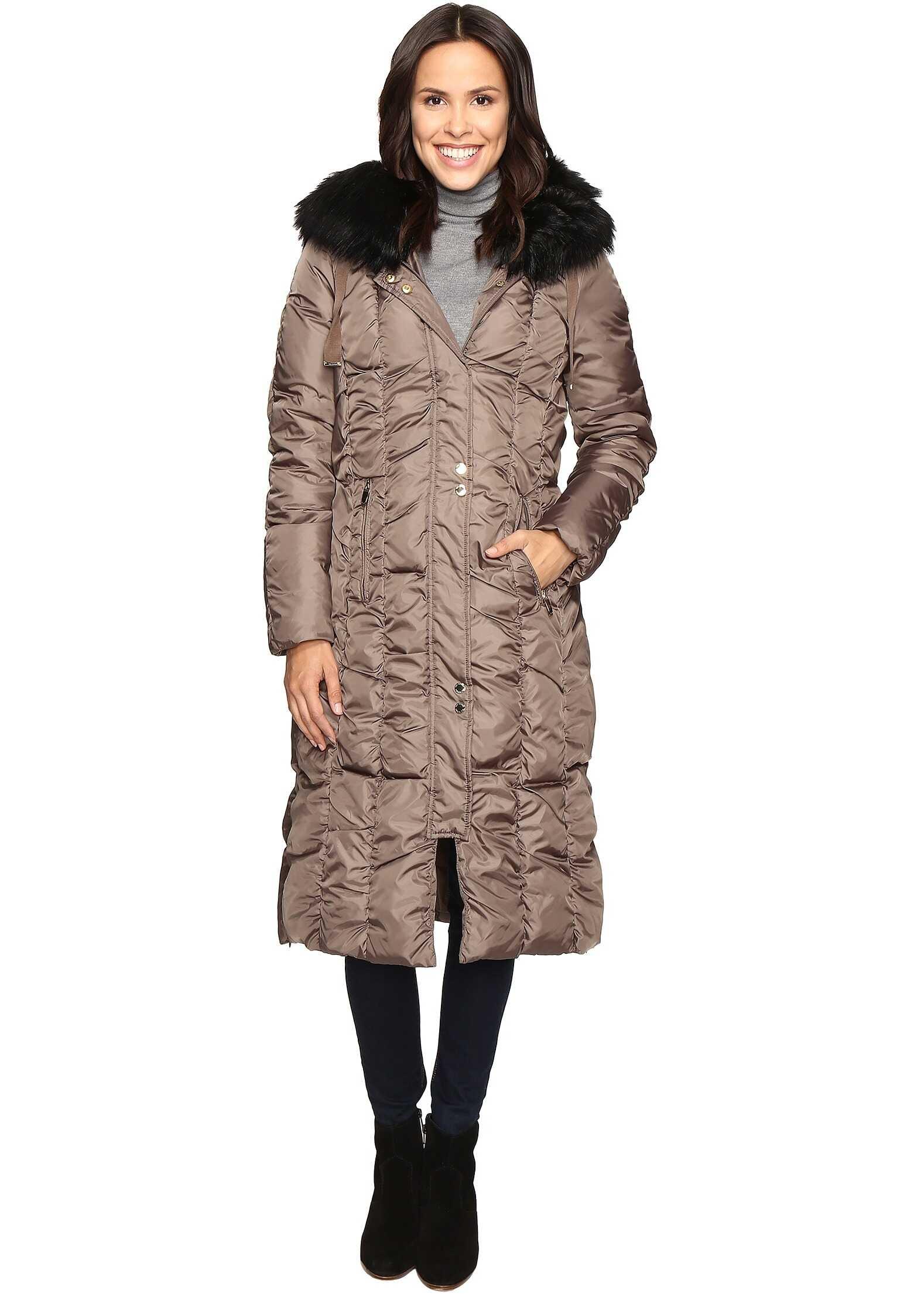 Via Spiga Maxi Coat with Rouching Detail Skim Latte