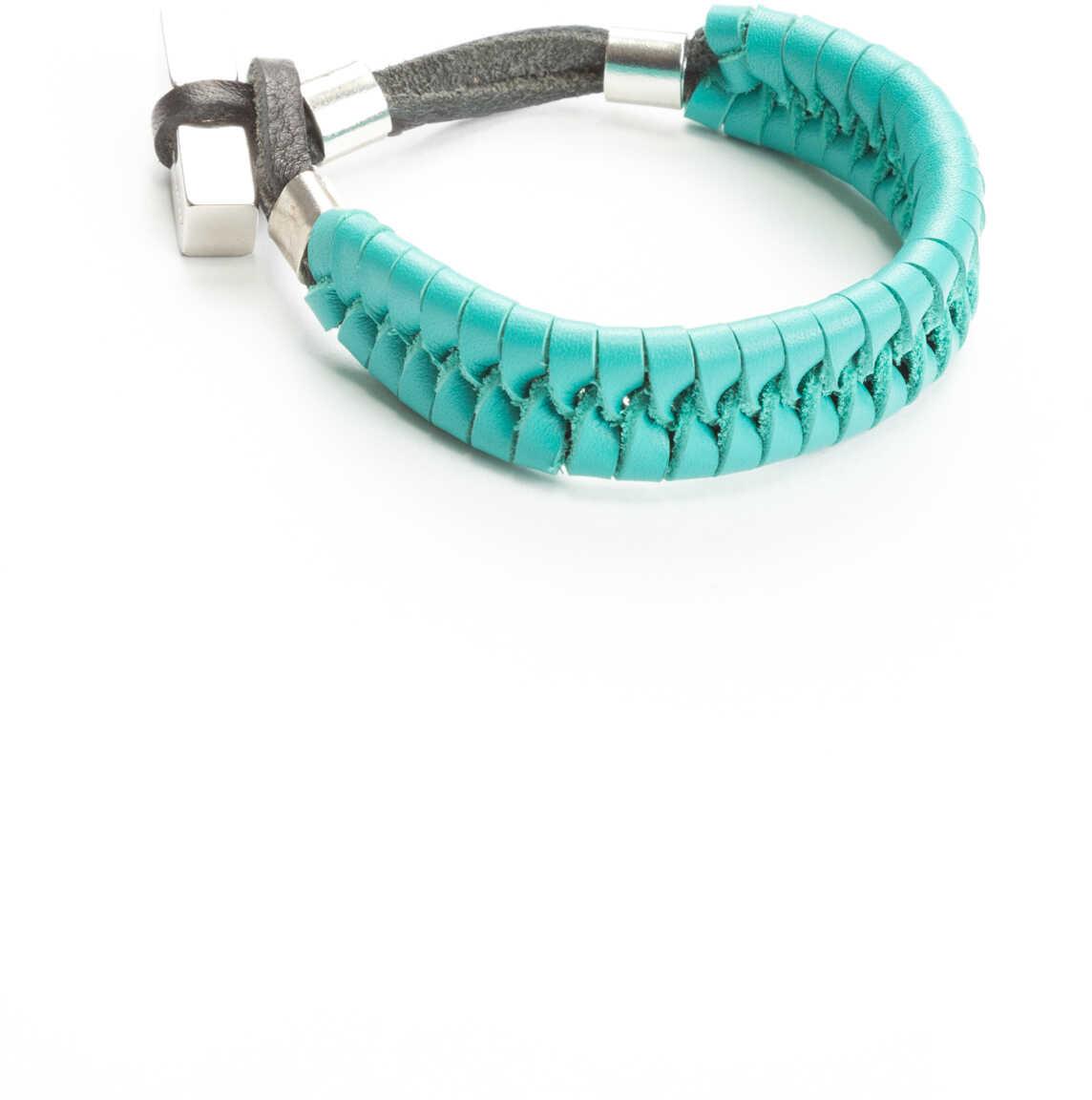 Bratara Barbati Dsquared2 Leather Bracelet Nero Azzurro
