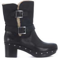 Ghete & Cizme Brea Ankle Boots In Black Suede And Leather Femei