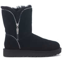 Ghete & Cizme Florence Black Suede Ankle Boots With Zip Femei