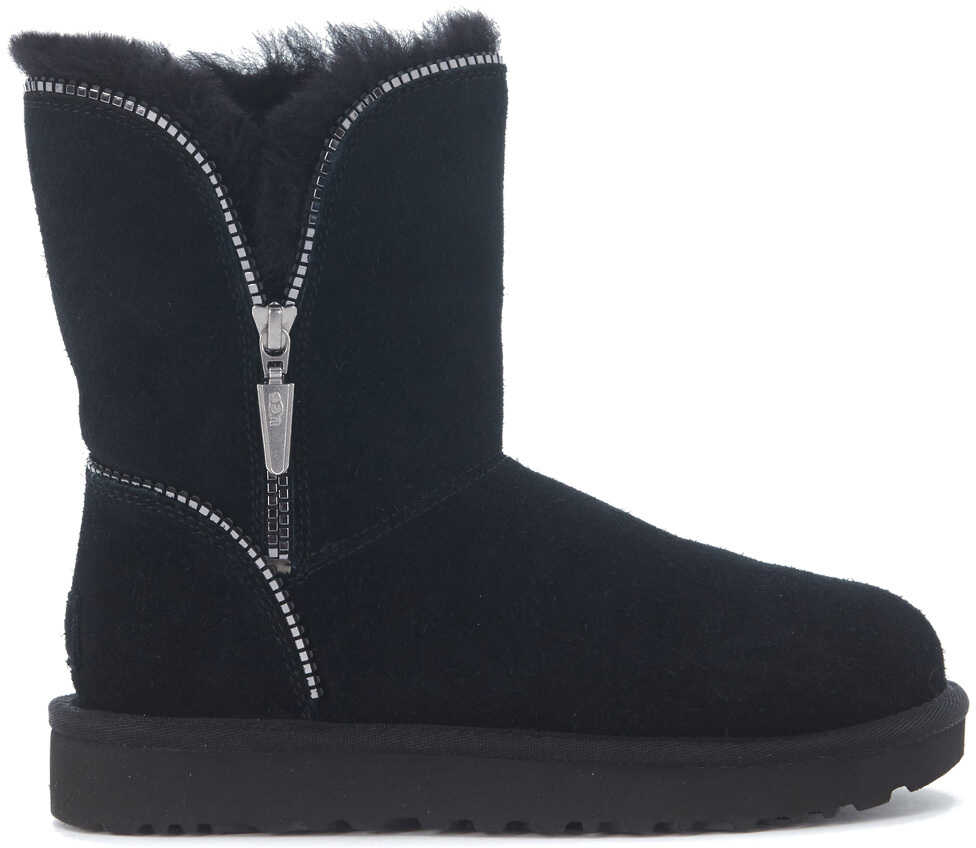 UGG Florence Black Suede Ankle Boots With Zip Black