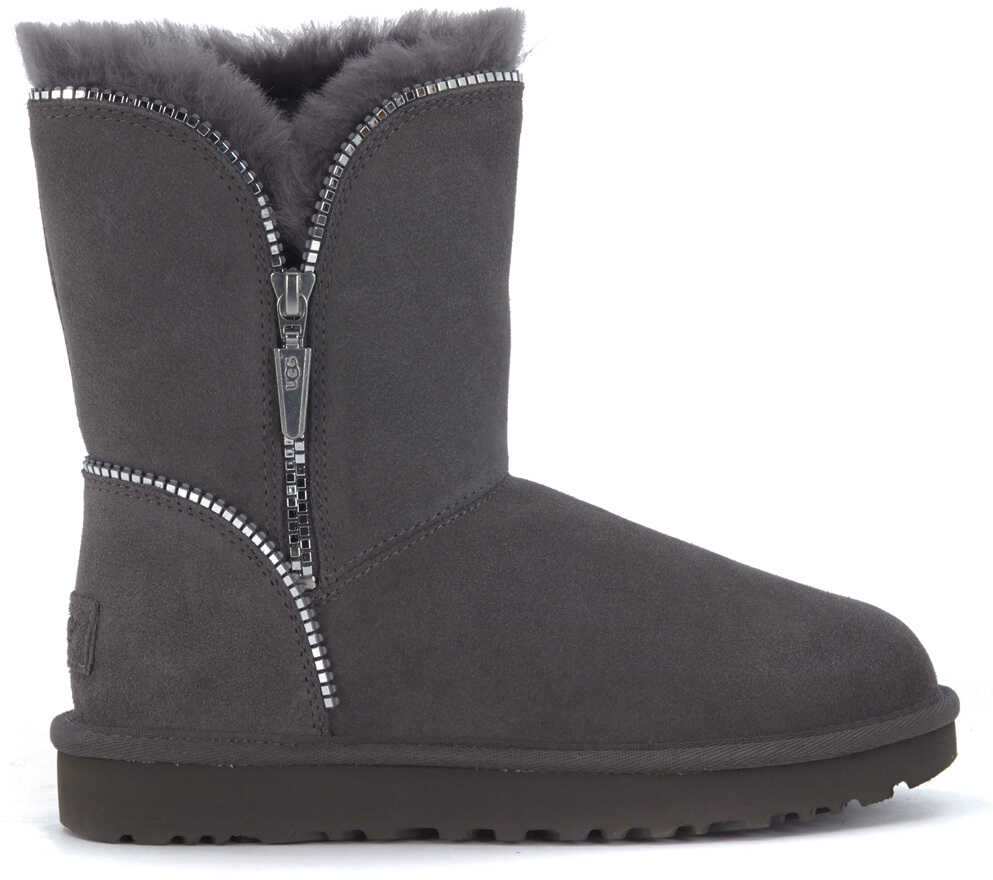 UGG Florence Ankle Boots In Grey Suede With Zip Grey