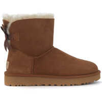 Ghete & Cizme Bailey Mini Ankle Boots In Brown Suede With Bow Femei