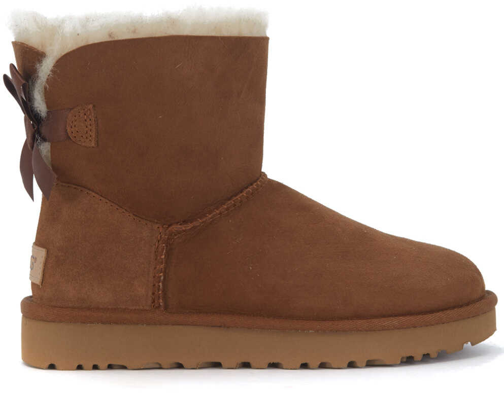 UGG Bailey Mini Ankle Boots In Brown Suede With Bow Brown