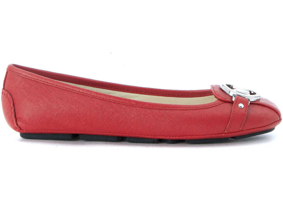 Michael Kors Fulton Moc Flat Shoes In Red Saffiano Leather Red