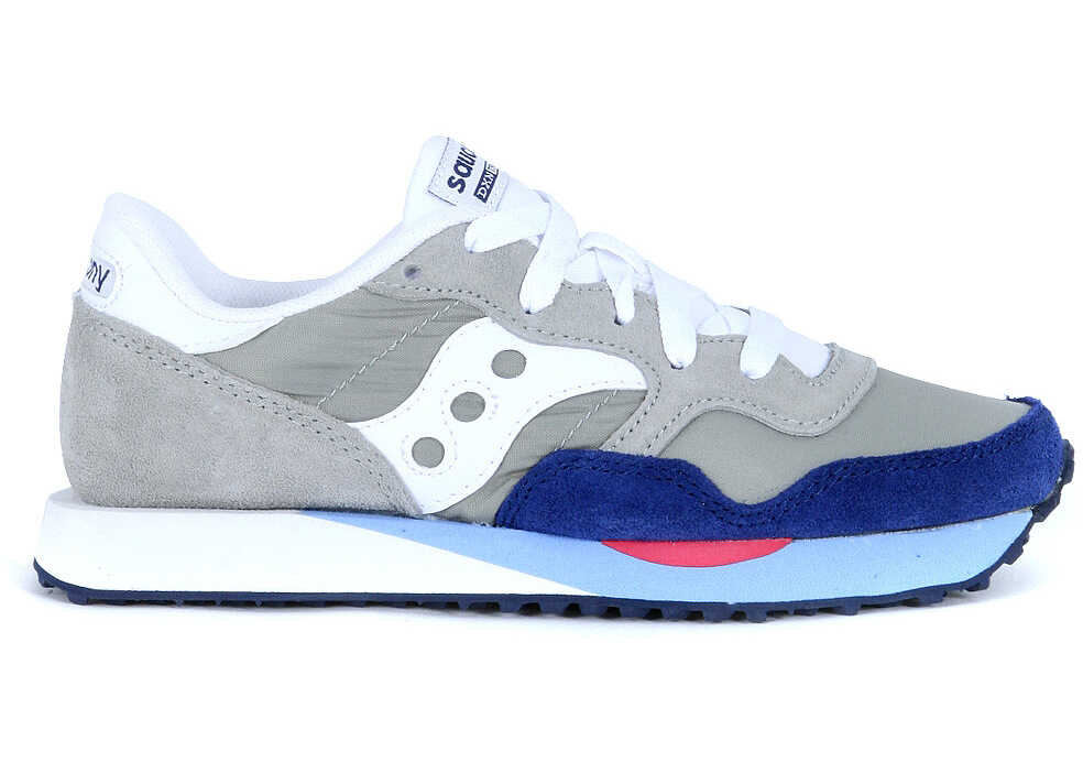 Saucony Dxn Trainer Sneaker In Light Grey And Blue Navy Suede Grey